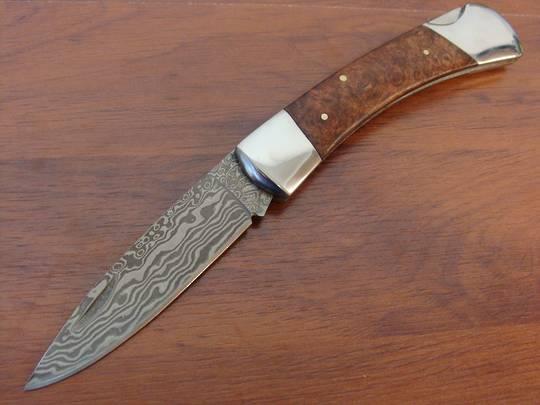 Boker Magnum Lord Lockback Folder Damascus Blade and Wood Handle - 01MB790DAM