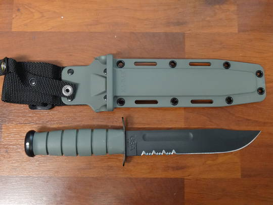 KA-BAR Foliage Green Fixed Blade Fighting Knife Serrated
