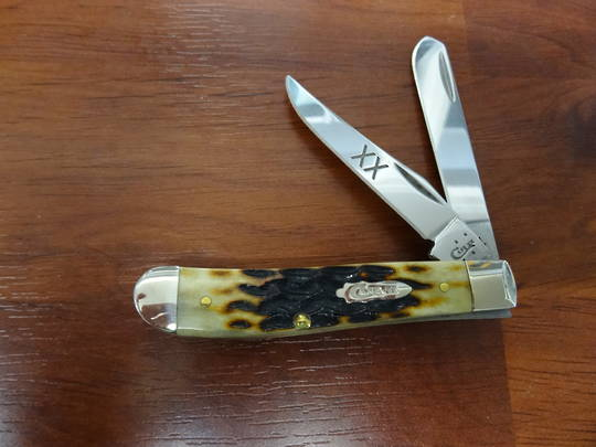 Case Cutlery Mini Trapper Heritage Molasses Jigged Bone Pocket Knife -31638