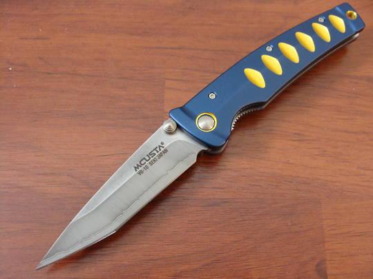 """Mcusta Katana Tanto San Mai Blue and gold anodized aluminum 4.25"""" Folder MC-0042C"""