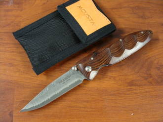 Mcusta VG-10 Damascus Linerlock Knife Brown Cocobolo