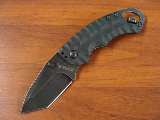 Kershaw Shuffle II Blackwash Plain Blade, Glass-Filled Nylon Handles