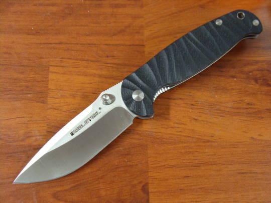 Real Steel H6 Satin Blade Black handle Folding Knife