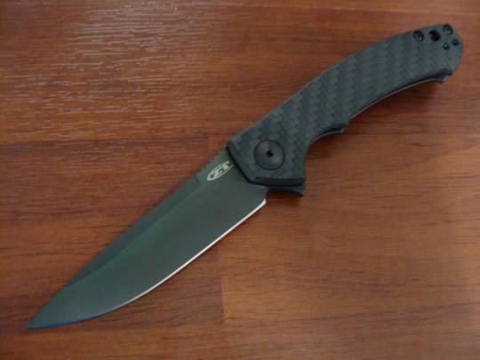 Zero Tolerance Dmitry Sinkevich Flipper Black Blade, Carbon Fiber/ Titanium Handles