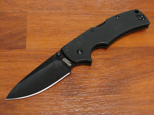 Cold Steel American Lawman Folding Knife S35VN Black DLC Blade, Black G10 Handles