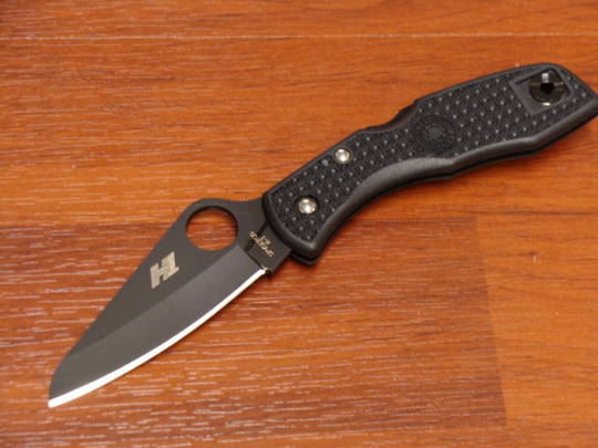 Spyderco Salt I Folding Knife Black H1 Plain Blade, Black FRN Handles