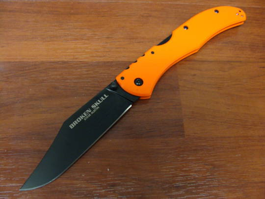 "Cold Steel Broken Skull I Folding Knife 4"" CTS-XHP, Orange G10 Handles"