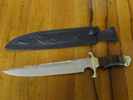 """Down Under Knives Toothpick 11.25"""" Polished Blade, Leather Handle"""