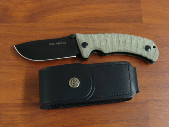Fox Knives Pro Hunter Folding Knife, N690Co Blade, Leather Sheath FX130MGT