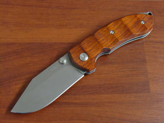 Fox Knives Ravn Folding Knife N690Co Blade, Cocobolo Handles, Leather Sheath FX514