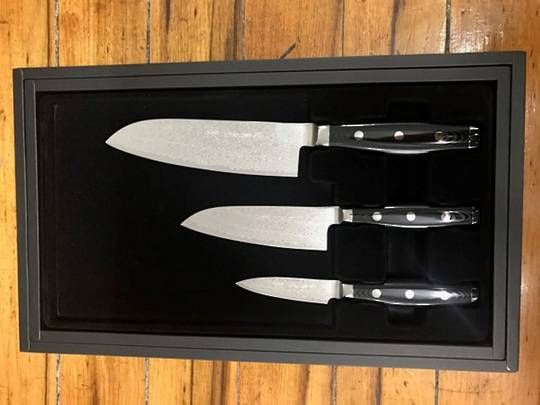 GOU Damascus Santoku Knife 3PC Gift Set