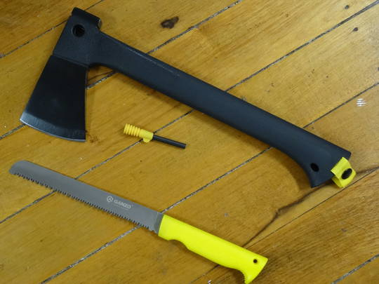 GANZO Survival Axe/Saw/Fire starter Combo GSA01-YE
