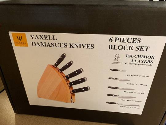 YAXELL TSUCHIMON JAPANESE DAMASCUS 6 PCE KNIFE SET