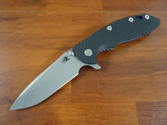 Rick Hinderer Tri-Way XM-18 3.5 Flipper, S45VN Spanto-Working Finish-Black G10/ Battle Blue Titanium Handles