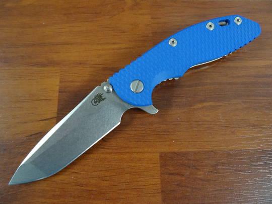 Rick Hinderer Tri-Way XM-18 3.5 Flipper;  S45VN Spanto-Stonewash-Blue G10