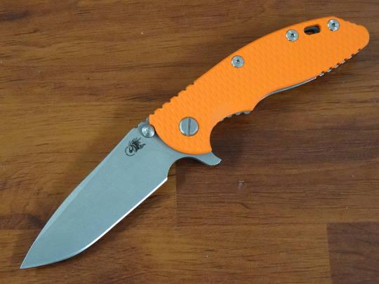 Rick Hinderer Tri-Way XM-18 3.5 Flipper, S45VN Spanto-Working Finish-Orange G10