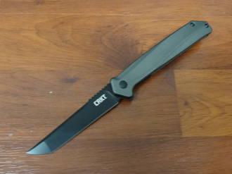 CRKT Ken Onion Helical Black Flipper Knife D2 Black Oxide Plain Blade, Black Aluminum Handles