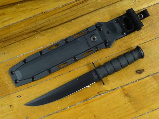 "KA-BAR Modified Tanto Fixed Blade Knife 8"" Black Blade, Black Kraton G Handles, Black GFN Sheath"