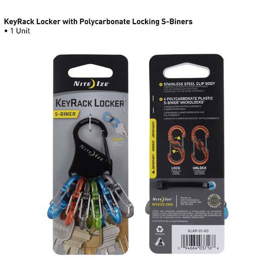 Nite Ize S-Biner Keyrack Locker Polycarbonate Microlocks
