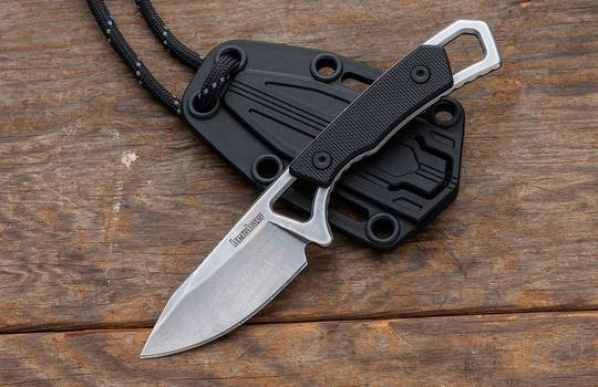 Kershaw Brace Fixed Blade Neck Knife Drop Point, Black GFN Handles, Plastic Sheath