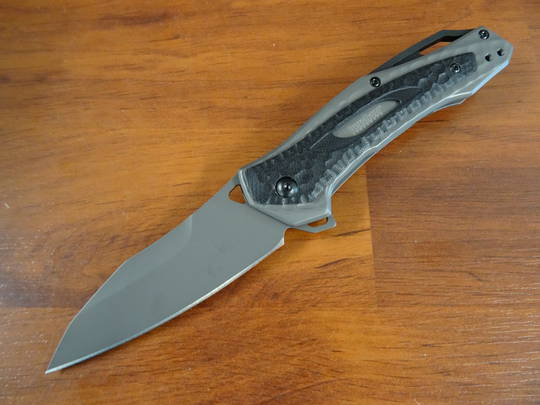 Kershaw Vedder Assisted Flipper Sheepsfoot Blade, Gray Steel Handles with G10 Overlays