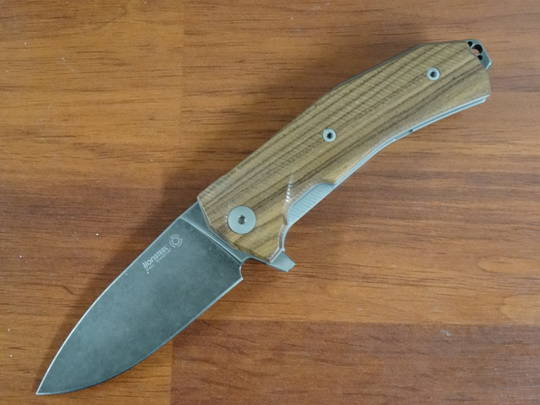 LionSteel KUR Flipper Knife Black PVD Stonewashed Blade, Santos Wood Handles