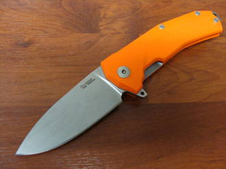 LionSteel KUR Flipper Sliepner Blade, Orange G10 Handles