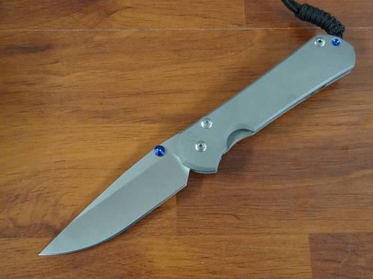 Chris Reeve Large Sebenza 31, Stonewashed Blade, Sandblasted Titanium Handles