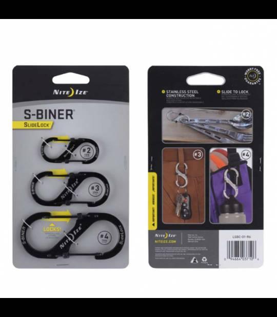 Nite Ize S-Biners Stainless Steel SlideLock- 3 Pack -Black