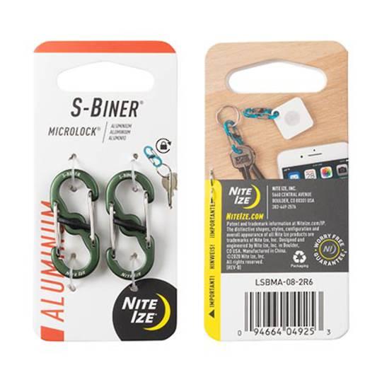 Nite Ize S-Biner Microlock Set of 2 Olive