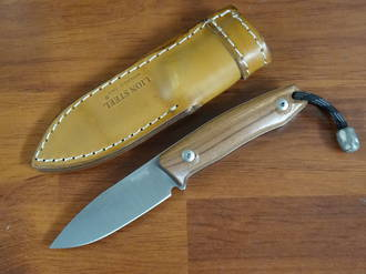 LionSteel M1 Compact Fixed M390 Drop Point Blade, Santos Wood Handles, Leather Sheath