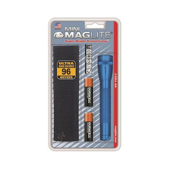 Maglite AA Torch w/holster - Blue