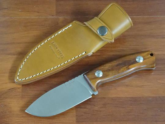 LionSteel M2 Hunter Fixed D2 Drop Point Blade, Santos Wood Handles, Leather Sheath