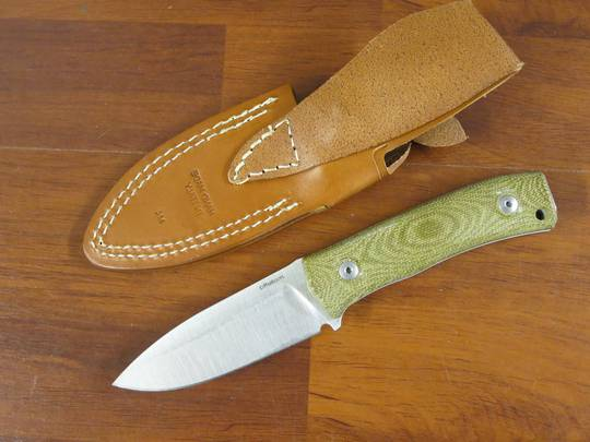 LionSteel M4 fixed blade camp knife with Green canvas waterproof handle