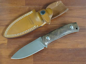 LionSteel M4 Bushcrafting Fixed M390 Plain Blade, Walnut Wood Handles, Leather Sheath