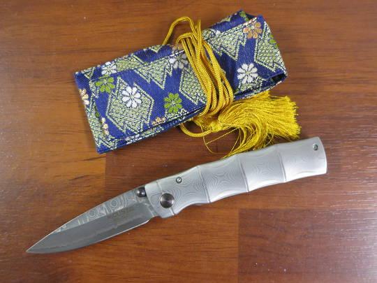 Mcusta Take Damascus Folder w/ Woven Nishijin Pouch MC-0033D