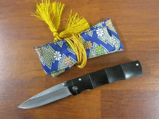 "Mcusta Damascus Black Pakka Wood 3.75"" Folder w/ Woven Nishijin Pouch MC-0076DP"