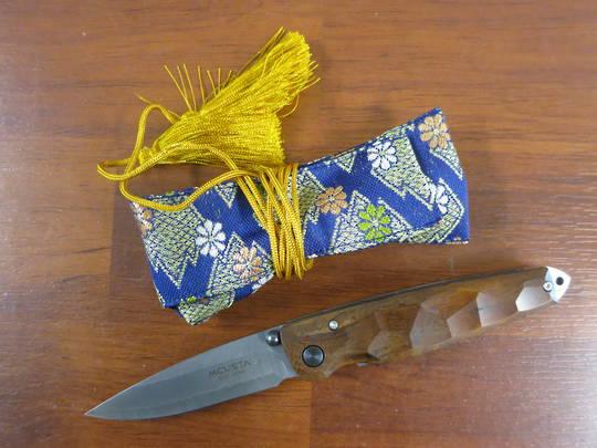 "Mcusta damascus Ironwood 3.75"" Folder w/ Woven Nishijin Pouch MC-0077DI"