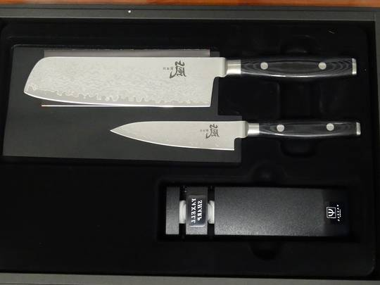 RAN Japanese DAMASCUS Nakiri KNIFE 3PC Gift Set