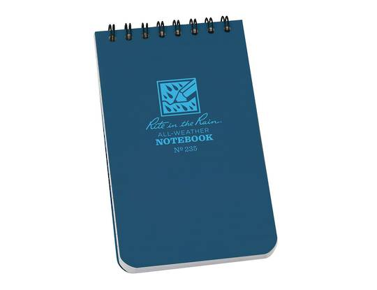 """Rite in the Rain Universal Polydura Tactical Pocket Notebook, 3"""" x 5"""", Blue"""