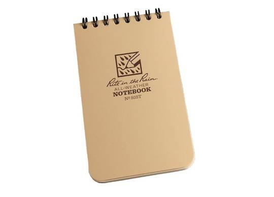 "Rite in the Rain Universal Polydura Tactical Pocket Notebook, 3"" x 5"", Tan"