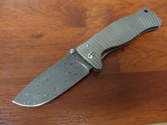 LionSteel SR1 Damascus Rain Drop Damascus Chad Nichols Blade, Titanium Handle