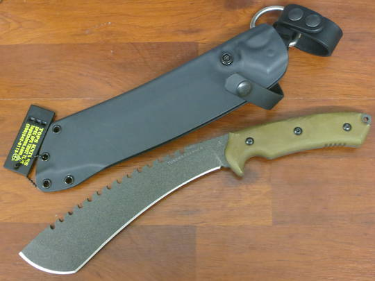 TOPS Knives Tundra Trekker Fixed Blade Knife, Sawback Kukri, Micarta Handles, Kydex Sheath
