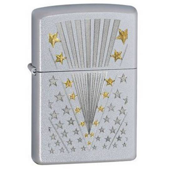Zippo FLAG, Satin Chrome Lighter