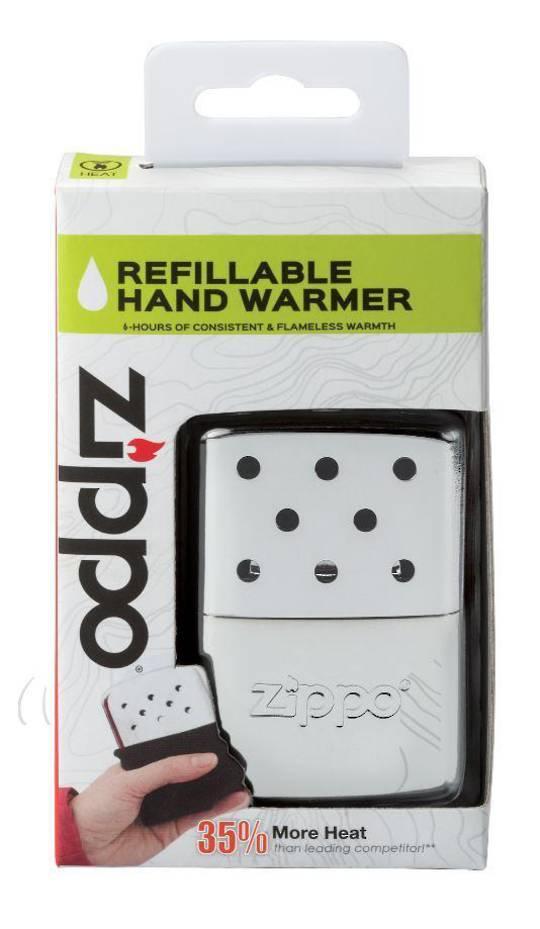 2 x ZIPPO 6-Hour High Polish Chrome Refillable Hand Warmer