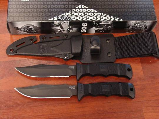 SOG Seal Pup Elite Serrated or Straight TiNi Knife - Kydex Sheath