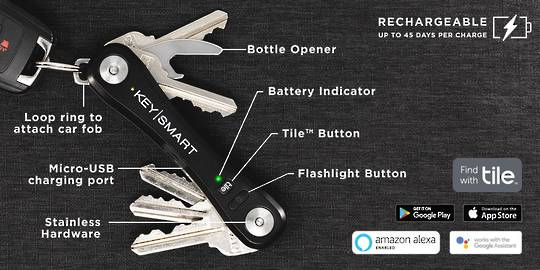 KeySmart Pro With Tile Smart Location Black