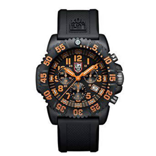 LUMINOX NAVY SEAL COLORMARK CHRONOGRAPH BLACK/ORANGE WATCH - 3089