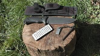 """Schrade Frontier Fixed 7"""" Black Blade Knife Sharpening Stone SCHF37"""