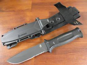 Gerber Strongarm Fixed Blade Knife- Black Half Serrated